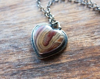 Laguna Agate Necklace, Heart Necklace, Sterling Silver, Statement Necklace... L'Amour...