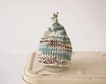 Boy's Top Knot Knit Beanie, Adorable Photography Prop for Newborn and Ready to Ship