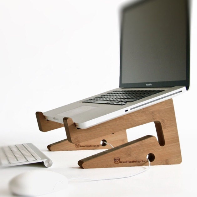 Wood laptop stand notebook riser beautiful by for Organiser un stand