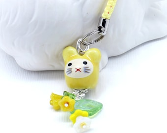 Kawaii Cute Yellow Rabbit - Sunny Bunny Purse Charm / Phone Plug, Czech Glass Bell Flowers in Yellow and White, Green Glass Leaf