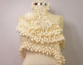 Ivory Shawl, Bridal Shawl, Wedding Shawl, Crochet Shawl, Bridal Shrug Bolero, Lace Shawl, Cape, Loop Scarf Shawl, Romantic Wedding Cover Up