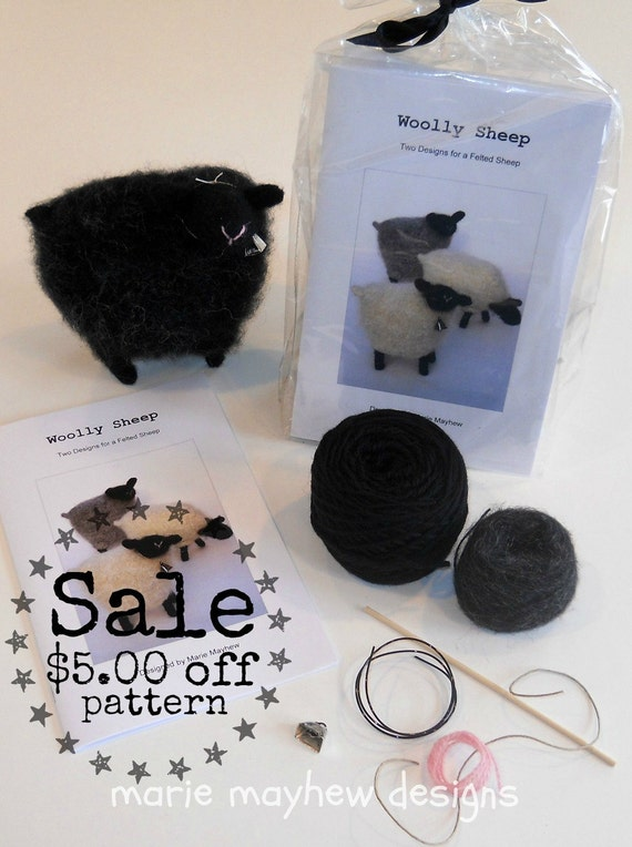 Knitting Pattern Wool Kits : KIT-PATTERN. A Knit & Felt BLACK Wool Sheep by woollysomething