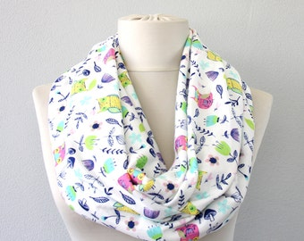 White owl scarf infinity scarf floral scarf woodland scarf mushroom print scarf gift for her fall fashion soft scarf winter woman scarf