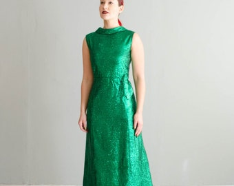 Vintage 1960s Holiday Dress - 60s Tinsel Dress - Good Tidings Dress