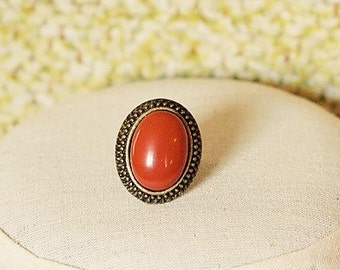 Handmade Red Jasper Ring Red Stone Ring Antiqued Gold Ring Red Gemstone Ring Brick Red Ring Red Jasper Gemstone Ring