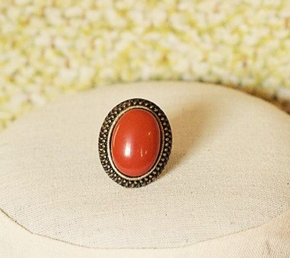 Goldring mit rotem stein  Handgemachte rotem Jaspis Ring roter Stein Ring Antik Gold