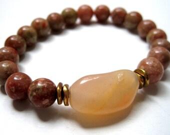 Jasper & Agate Bracelet / Natural Stone Stacking Bracelet / Earth Tones / Cream Tan Olive / Beadwork Jewelry