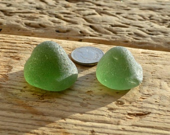 GREEN KICKUP PAIR - Scottish Sea Glass - Jewelry Supplies (4080)