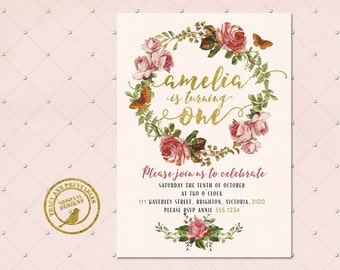 1st Birthday Invitation | Pink and Glitter Girl Birthday Invite | 1st Birthday Floral Vintage |  1st Birthday Digital | Printable DIY | 1518