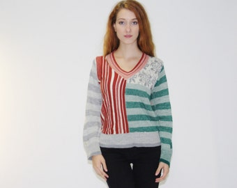Vintage 1990s Holiday Vintage Christmas Sweater   - Vintage Striped Sweater - WT0197