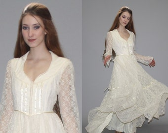Gunne Sax Vintage 1970s Ivory Lace Wedding Maxi Dress - 70s Gunne Sax Dress - 1970s Lace Wedding Dress -  Gunne Sax Wedding Dress  - WD0598