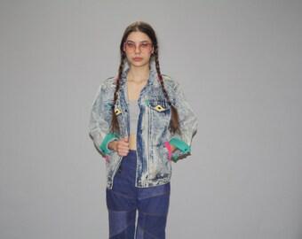 Vintage 80s  Colorblock Acidwash Chemical Wash Neon  Denim Jean Jacket  -  1980s Vintage Denim Jacket   - WO0614