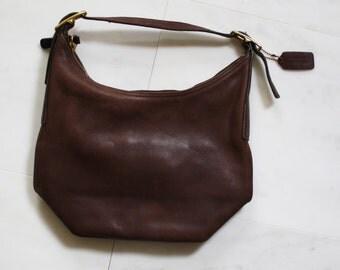 Vintage Coach Leather Purse  - Coach Purse  - 1970s Coach Bag - Leather Shoulder Bag -  Brown Leather Bag - WA0049