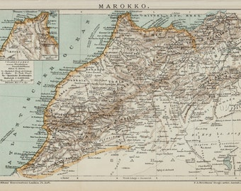1893 Antique victorian Morocco map.  20 years Old lithograph print.