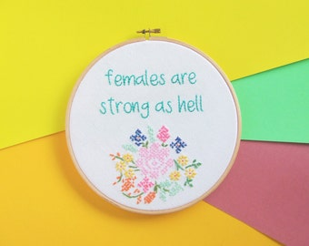 Kimmy Schmidt - Unbreakable 'Females are strong as hell' Hand Embroidered Hoop Art