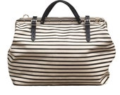 Harry black stripe on natural canvas bag