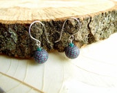 Burgundy Blue Bead Drop Earrings, Small Beads, Sterling Silver & Polymer Clay, Red, Turquoise, Supremily Jewellery