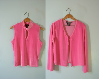Vintage 90's hot pink velvet crop top and cardigan set, size large