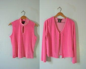 Vintage 90's hot pink velvet crop top and cardigan set, pink cropped top, size large