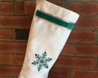 Velvet Christmas stocking embroidered snowflake mint-silver-jade green rickrack trim modern heirloom housewarming couples gift mantel