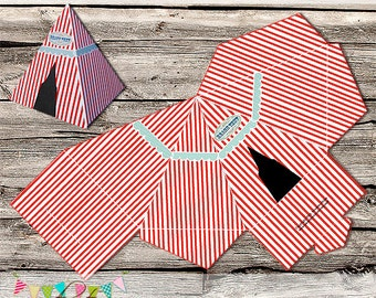 Favour or Treat Box - Circus, Beach, Carnival - Party - Printable - DIY - Digital File - INSTANT DOWNLOAD