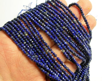 Lapis Lazuli - 3mm rondelle - micro faceted -  A quality - 162 beads - full strand - RFG1094