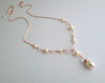 Rose Gold Bridal Necklace Pearl Necklace Ivory Swarovski Pearls Crystals Necklace Chain necklace Wedding Pearl Necklace Bridal Jewelry EMILY