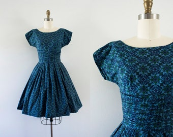 1960s Mediterranean Blues cotton day dress / 60s spring beauty