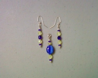 Blue and Light Yellow Pendant and Earrings (1021)