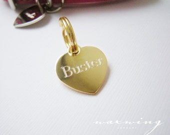 Engraved Heart Pet Tag Gold Plated or Nickel Chrome Silver Custom for Your Pet Dog or Cat Pet ID Pet necklace - Charm Size Small-Medium