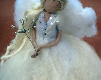 Christmas Tree Topper Needle felted Wandorf inspired Angel Fairy