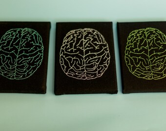 Hand Embroidered Brain - Black