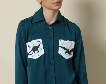Sale. womens blouse, Long sleeve shirt , Winter top, Blue blouse, Women shirt, Collared blouse, Button down shirt, Elegant top, Dinosaur