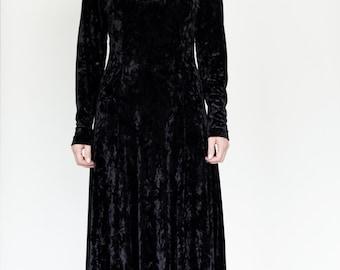 Black Crushed Velvet maxi dress