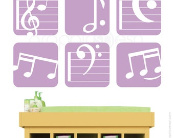 Wall decal MUSIC NOTES BOXED - Set of 6 - Decorating art stickers for children nursery kids by GraphicsMesh