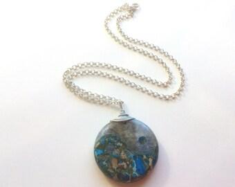 Yin Yang Stone Necklace / Agate/ Jasper Pendant /Spiritual Jewellery / Gemstone Necklace / Zen Jewelry