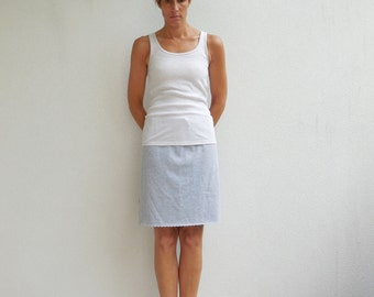 Womens T Shirt Skirt Gray Women's Skirt Recycled Tees Upcycled T- Shirts Straight Cotton Handmade For Her Soft Fashion Spring Skirt ohzie