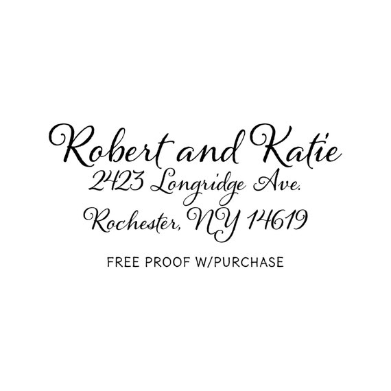 Calligraphy Return Address Stamp.   Mounted with Handle Address Return Address Stamp or Self-inking Return Address Stamp . 2 1/2 x 1 (20342)