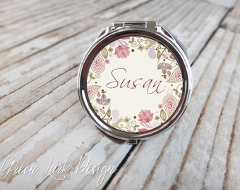 Personalized Bridesmaid Compact Mirror - Spring Floral Paisley