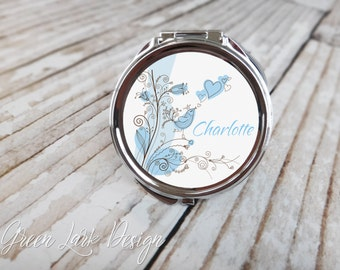 Bridesmaid Gift Personalized Custom Compact Mirror - Singing Love Bird in Blue
