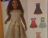 Girl's Child's Lace Trim Party Dress Pattern 6359 Simplicity New Look New Uncut Factory Fold Size 3-8