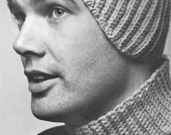 vintage crochet pattern mens ear warmer and dickey neck warmer set men headband head band earwarmer man printable pdf download 1960