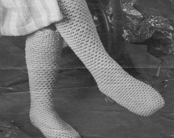 vintage crochet pattern knee high tube sock bed slippers worsted weight yarn i hook 1960 printable PDF DIY download