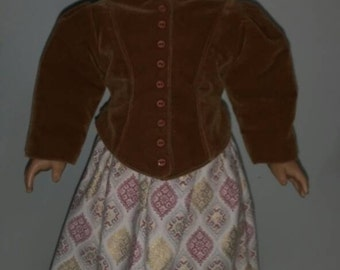 """Victorian style skirt and jacket fits dolls like American Girl and 18""""dolls, Brown velvet jacket and print skirt"""