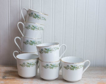 Vintage China Tea Cups,  Blue  Floral, Sage Green, Fancy Teacups, Creative Manor 9169, Fine China, Shabby Chic Tea, Set of 8, Japan 1950s