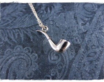 Silver Pipe Necklace - Sterling Silver Pipe Charm on a Delicate Sterling Silver Cable Chain or Charm Only