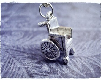 Silver Wheelchair Necklace - Silver Pewter Wheelchair Charm on a Delicate Silver Plated Cable Chain or Charm Only