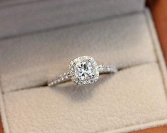 Radiant halo engagement ring, diamond halo ring, 0.5ct diamond ring, white gold halo engagement