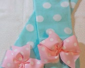 Baby leg warmers, newborn girl, newborn leggings for girls, aqua and pink, leg warmers with bows, 1st birthday outfit