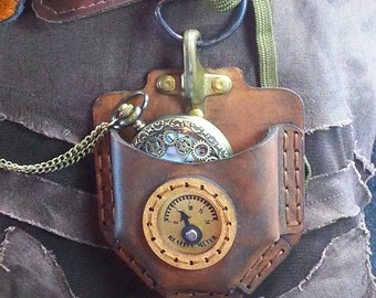 Steampunk Pocket watch, Leather Pouch, DIY Kit, Steampunk, Kit, Complete, Geek Gift, Alternative Gift, Video Tutorial, Girlfriend gift